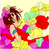 Kid's coloring: Girl and flowers